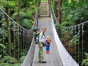Familie spaziert über eine Hängebrücke