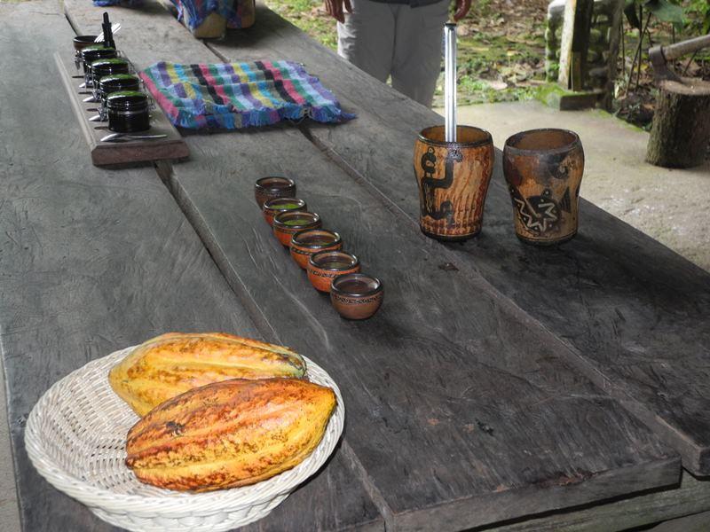 gelbe Kakaofrucht und Gewürze