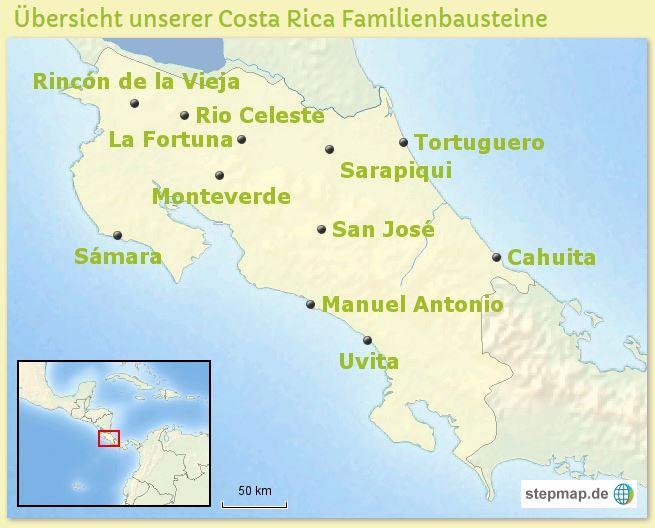 Karte Costa Rica Familienreisen