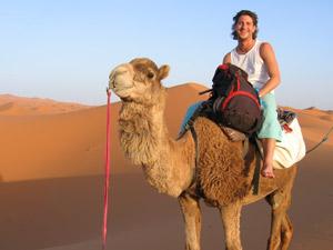 Mann auf Kamel in Merzouga