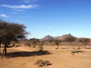 Wüstenähnliche Landschaft Nkob in Marokko