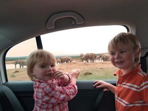 Zwei Reisende Kinder im Auto im Addo Elephant Park