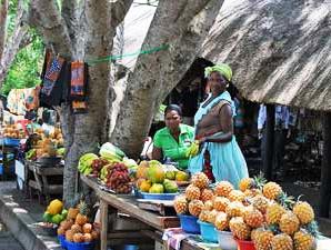 Frauen auf dem Markt in St. Lucia beim Verkauf von Früchten