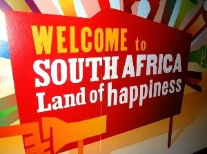 Willkommensschild in Südafrika