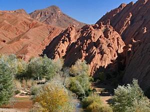 Ait-Benhaddou: Büsche und rote Felsen des Atlasgebirges