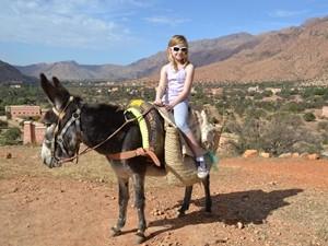 Mädchen sitzt auf dem Esel und im Hintergrund ist die Oase