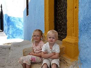 Marrakesch: Kinder auf einer Teppe