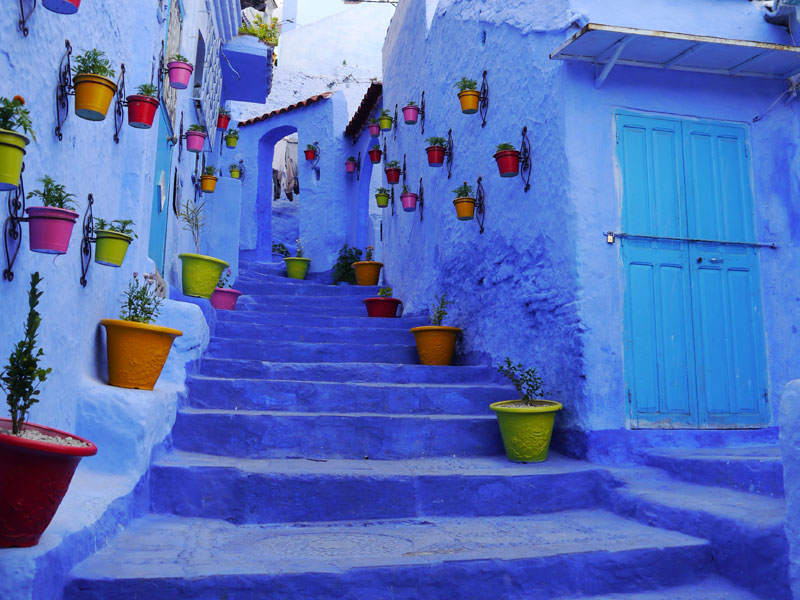 Marokko Norden Chefchaouen blaue Treppe