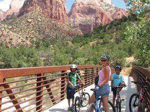 Fahrradfahren mit Kindern im Zion Nationalpark