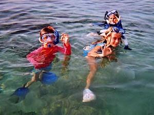 Manatee Begegnung: Kinder beim Schnorcheln im Wasser
