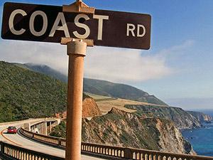 Schild der Küstenstraße Highway 1