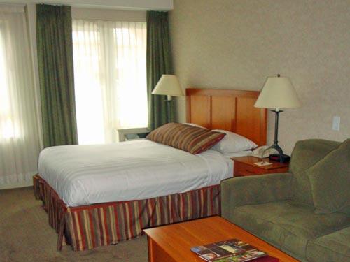 Ein Doppelzimmer in einem Berghotel in Whistler