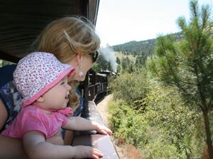 Kind und Mutter schauen aus der Lok